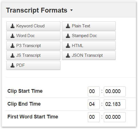 download transcript file in desired file format