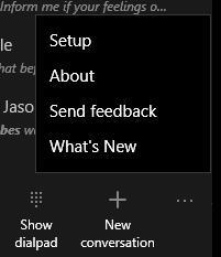 Skype Preview Menu