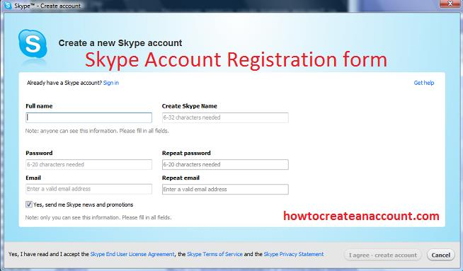 skype registration form