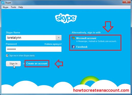 Skype sign up registration form