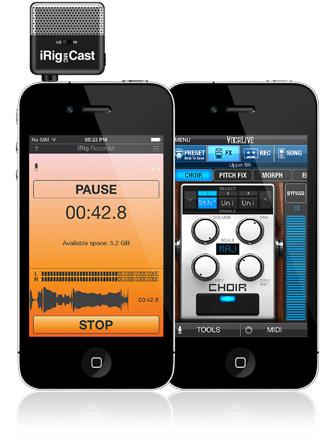 iRig Mic Cast with iPhone, iRig Recorder and VocaLive