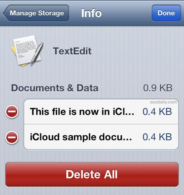 Delete iCloud Documents from iOS