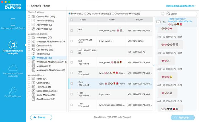 recover WhatsApp from iTunes backup