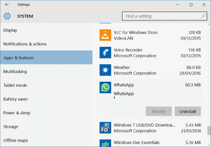 uninstall and remove whatsapp desktop app step2