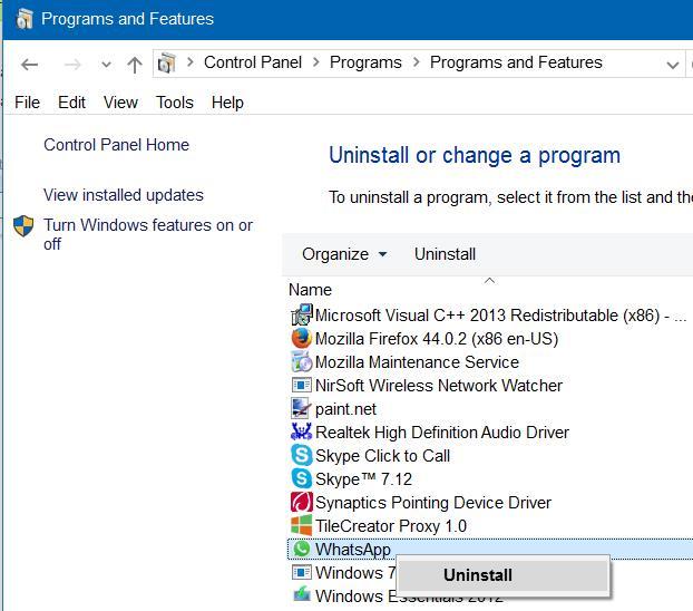 uninstall and remove whatsapp desktop app step3