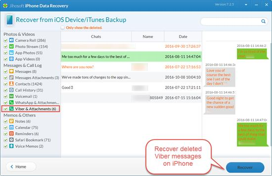 Retrieve Deleted Viber Messages on iPhone with iReparo for iPhone