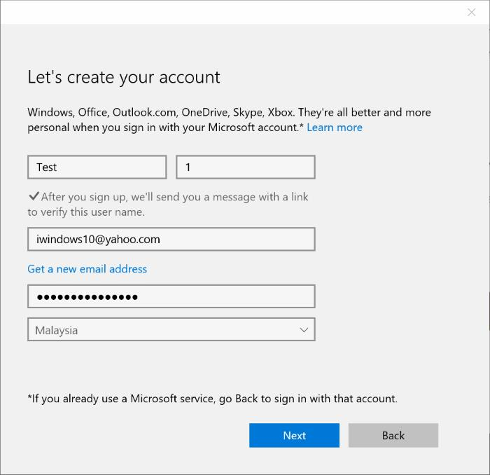 Use Gmail or Yahoo Mail as Microsoft acount step4