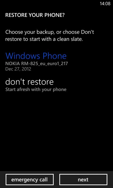 Backup and Restore on Windows Phone 8