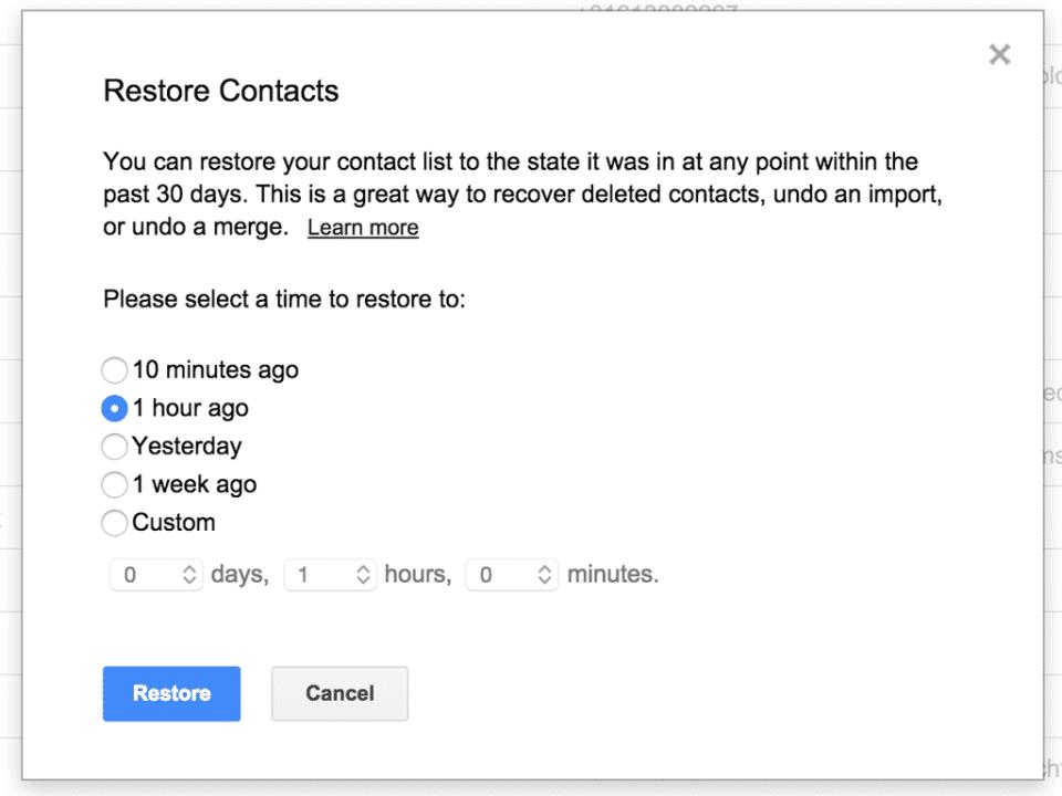gmail contacts allows recovering backups up to 30 days back