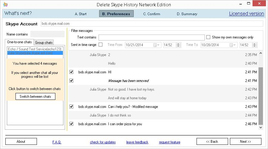 Delete Skype History Network Edition. Bulk edit or remove messages