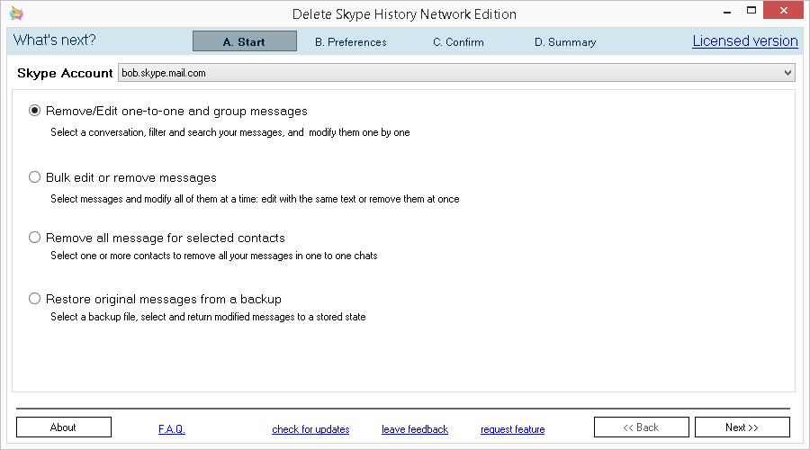 Delete Skype History Network Edition. Main screen
