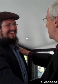 Rafi Stiel meets Rabbi Dovid Zaklikowski for the first time.