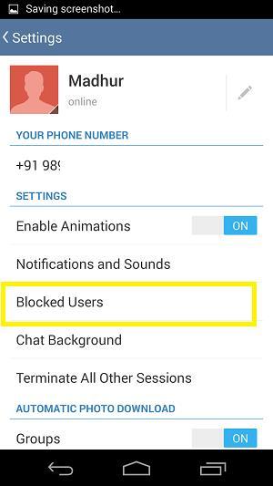 Telegram List of Blocked Users
