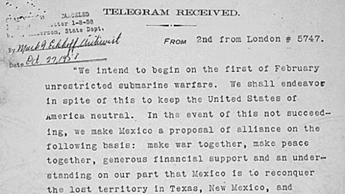 Translated copy of the Zimmerman Telegram.