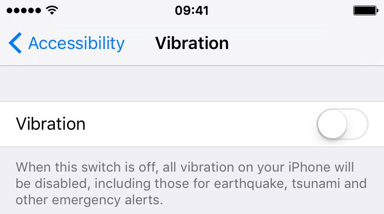 iOS 9 Settings how to disable vibration iPhone 6s screenshot 003