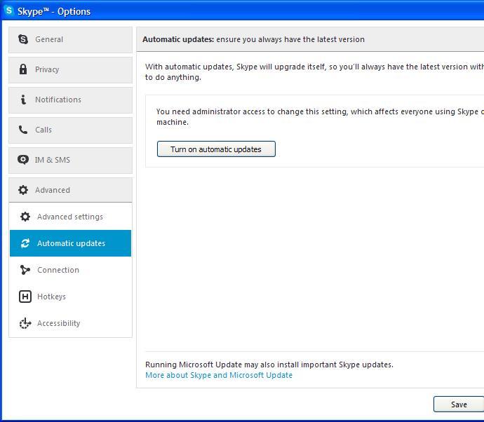skype update options