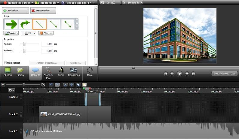 Screenshot of Camtasia interface