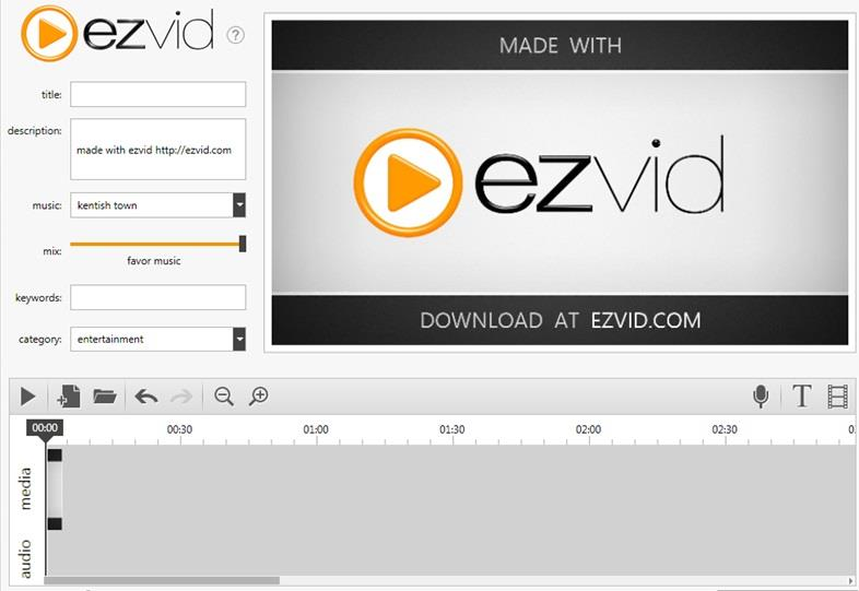 Screenshot of Ezvid interface
