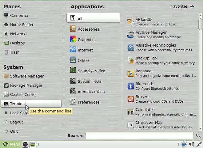 Linux Mint Viber QuickStart - Open Terminal