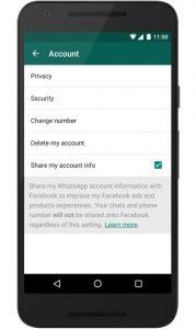 WhatsApp TnC Option