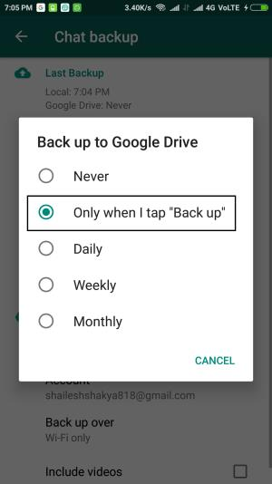 how to take the backup of whatapp data 4