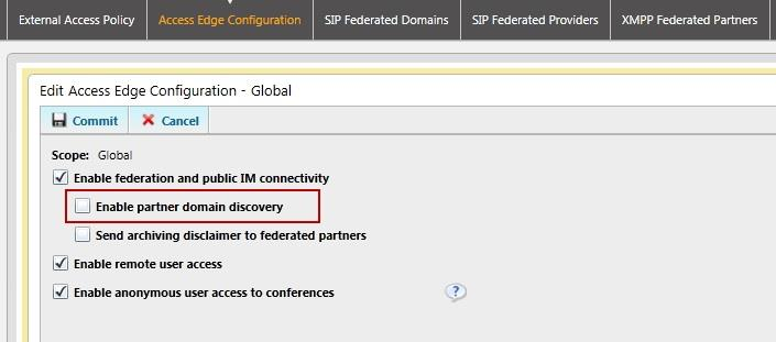Figure 2: Determining Whether an Organization Is Currently Setup for Partner Domain Discovery in the Control Panel