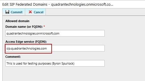 Figure 4: Adding a Partner Organization's SIP domain and Access Edge Server FQDN to the List of Federated Domains