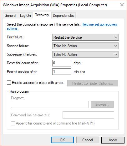 set First Failure to Restart the Service WIA properties