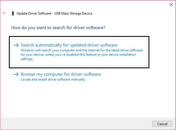 search automatically for updated driver software USB Mass Storage Device