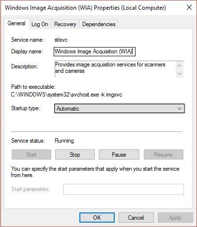 Windows Image Acquisition WIA properties