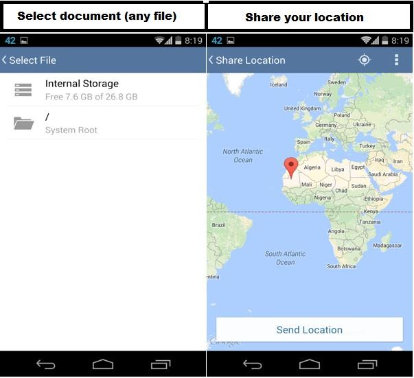 share location and documents