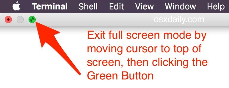 Exit Full Screen Mode in Mac OS X