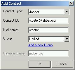 Adding a contact in Exodus