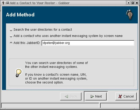 Adding a contact in Gabber