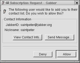 Receiving a subscription request in Gabber