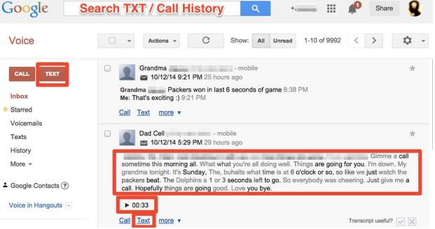 Google Voice Web Interface