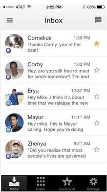 Google Voice App Message Screen