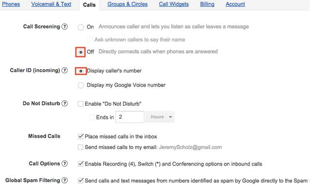 Google Voice Call Settings