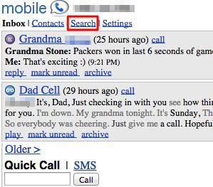 Google Voice History Search on Mobile