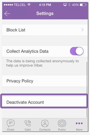 Select Deactivate Account