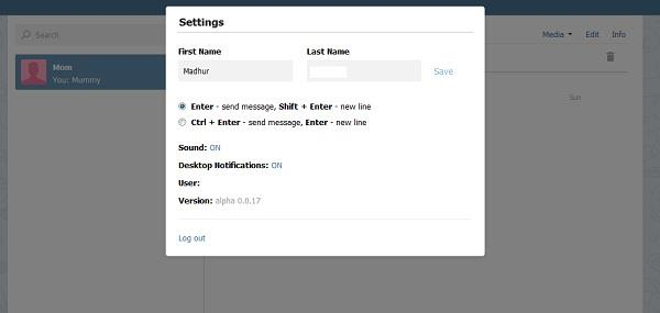 webogram settings menu