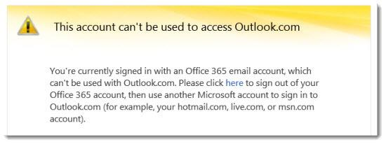Office 365 - Outlook.com error message