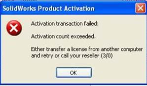SOLIDWORKS Activation Count Exceeded