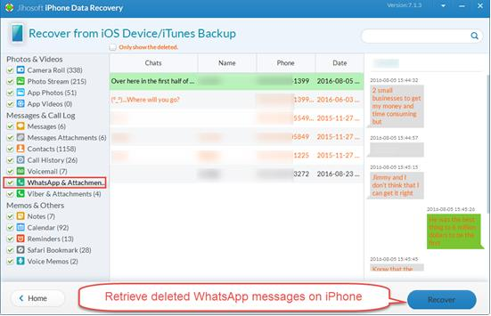 Recover WhatsApp Messages, Photos, Videos from iPhone without Backup