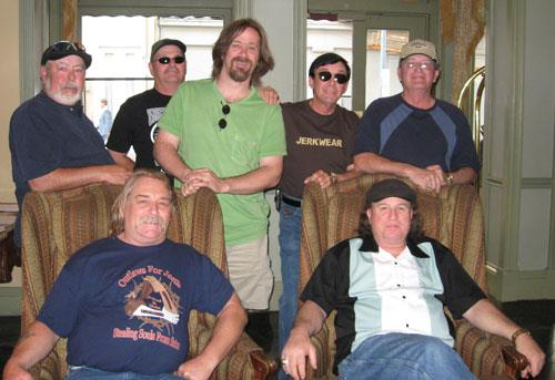 Back row, L-R: R.E. 'Buck' Houchins (bass); Bob Gober (guest guitar); music journalist Bill Kopp; Randy Alvey (vocals); Mike Pearce (drums). Front row, L-R: Jim Mercer (guitar); Les Dale (lead guitar). photo (c) Bill Kopp