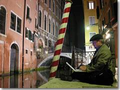 Catching a stray WiFi signal by a canal in Venice