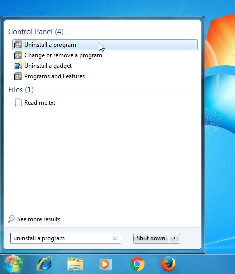 search uninstall a program windows7
