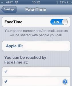 FaceTime Setting