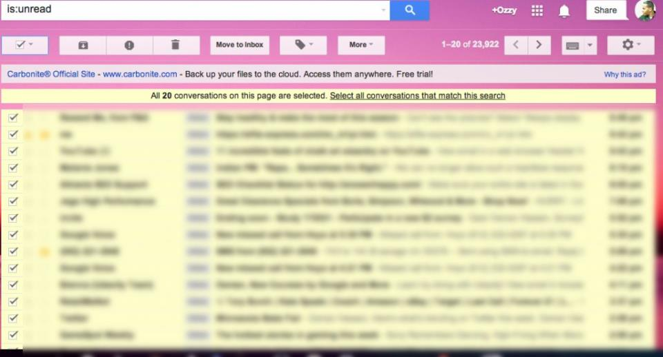 Gmail mass delete all unread or promo messages