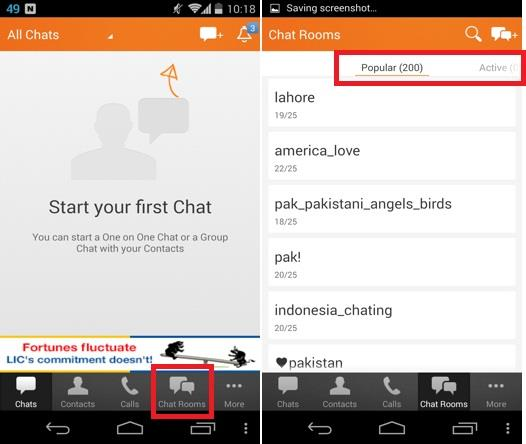 selecting a chat room in nimbuzz